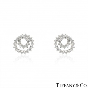 Tiffany & Co. Platinum Diamond Swirl Earrings